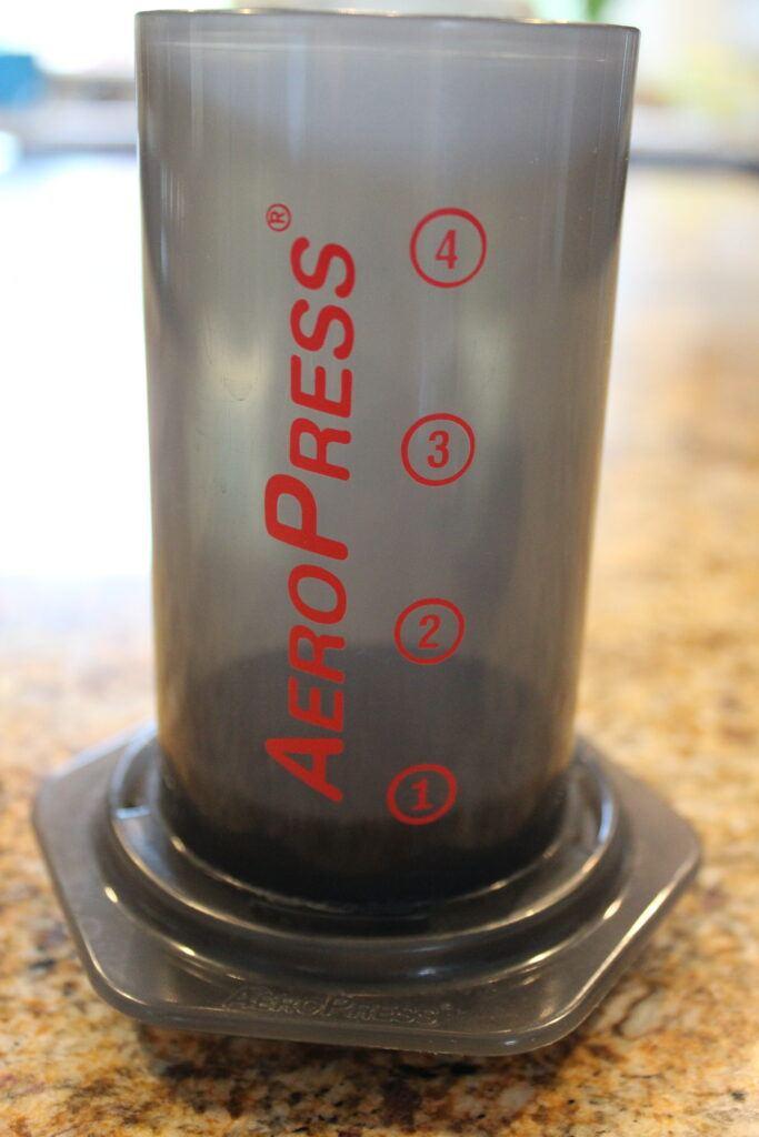 Making espresso with AeroPress coffee maker